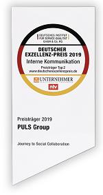 """PULS wurde mit dem Deutschen Exzellenz-Preis 2019 in der Kategorie """"Interne Kommunikation"""" ausgezeichnet."""