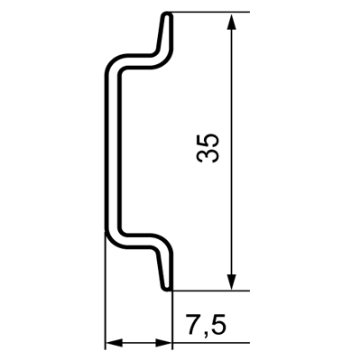 Cross section of a 7,5mm DIN rail